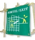 Panel indicating the tarzan swing exit on the left